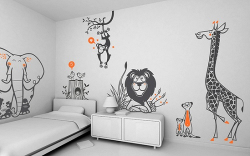 Kids-bedroom-Wild-Animals-Theme-Wallpaper