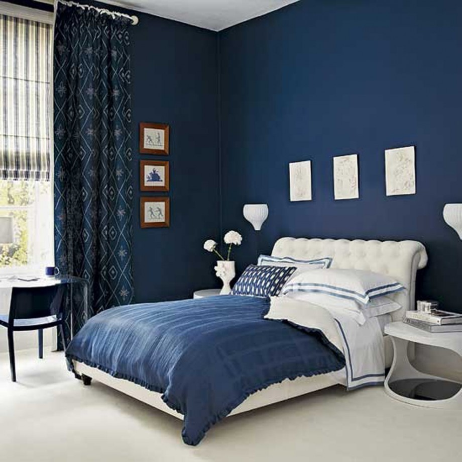 interior-design-blue-nice-bedroom-theme-deep-wall-paint-color-white-navy-colors-covered-bedding-sheets-patterned-pillows-bedrooms-decorations-delightful-because